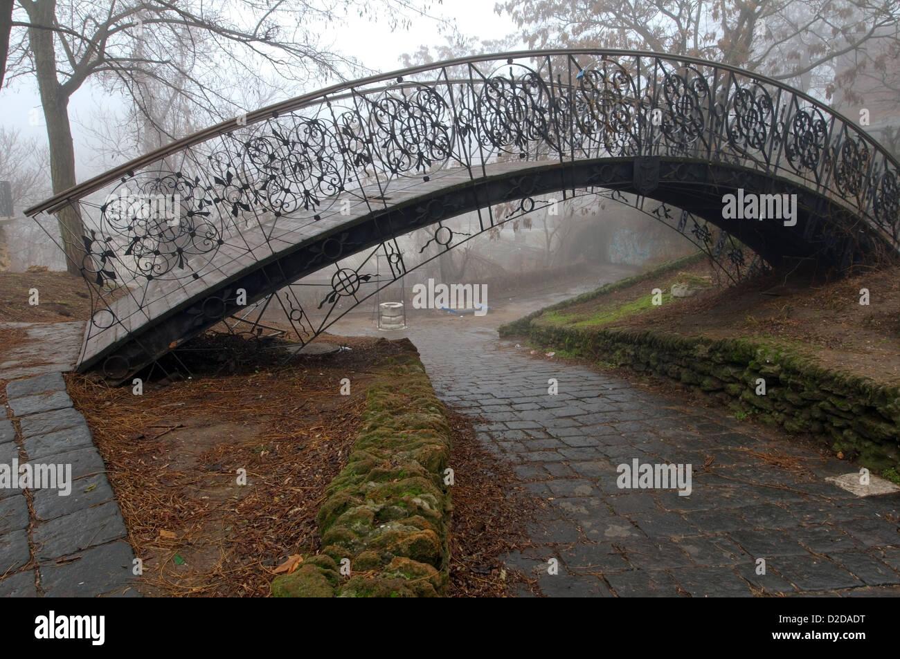 Humpbacked bridge in the fog. Odessa, Ukraine, Europe - Stock Image