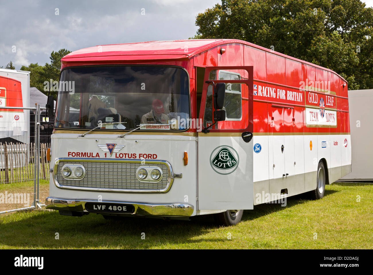 1967 AEC-Gold Leaf Team Lotus F1 truck. Rebuilt in 2005 on an AEC Swift chassis. 2012 Goodwood Festival of Speed, - Stock Image