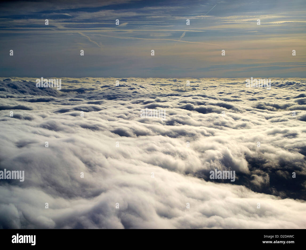 Pilots eye view above the clouds, shot over Shropshire, UK Stock Photo