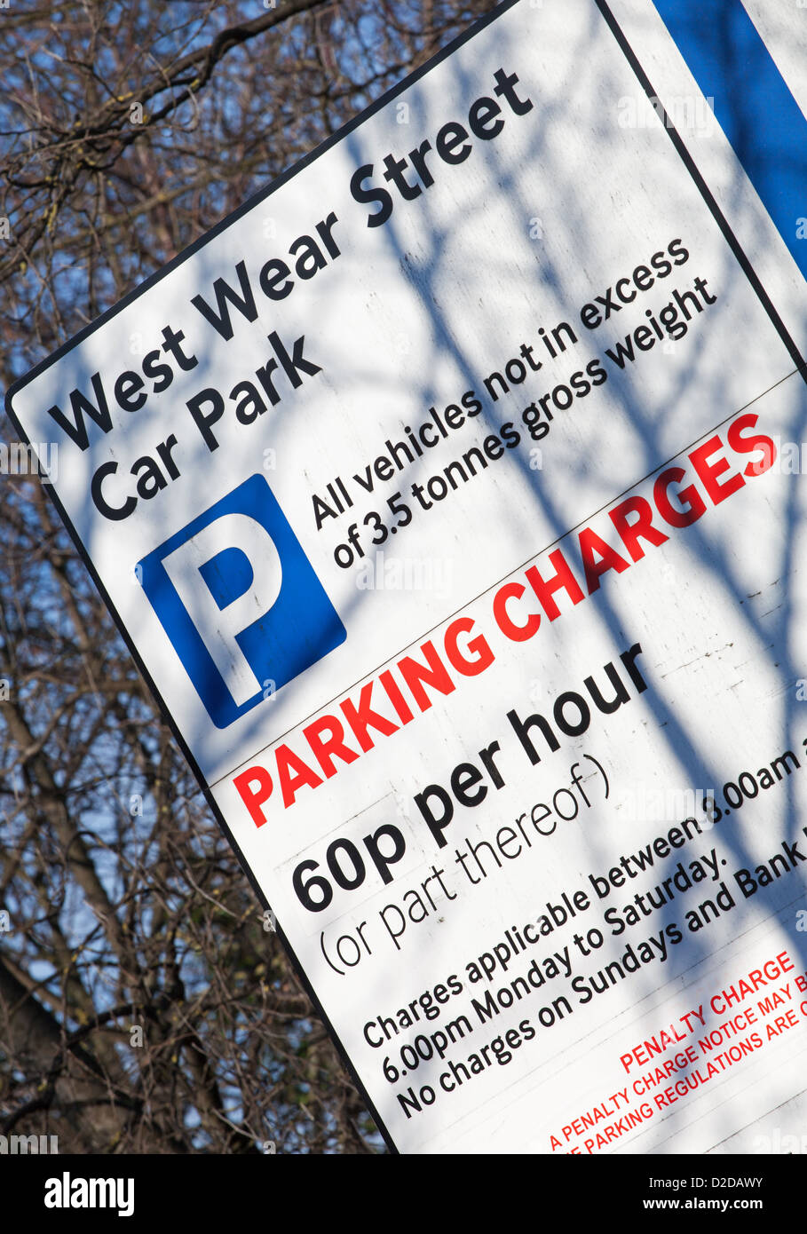 Car park sign parking charges - Stock Image