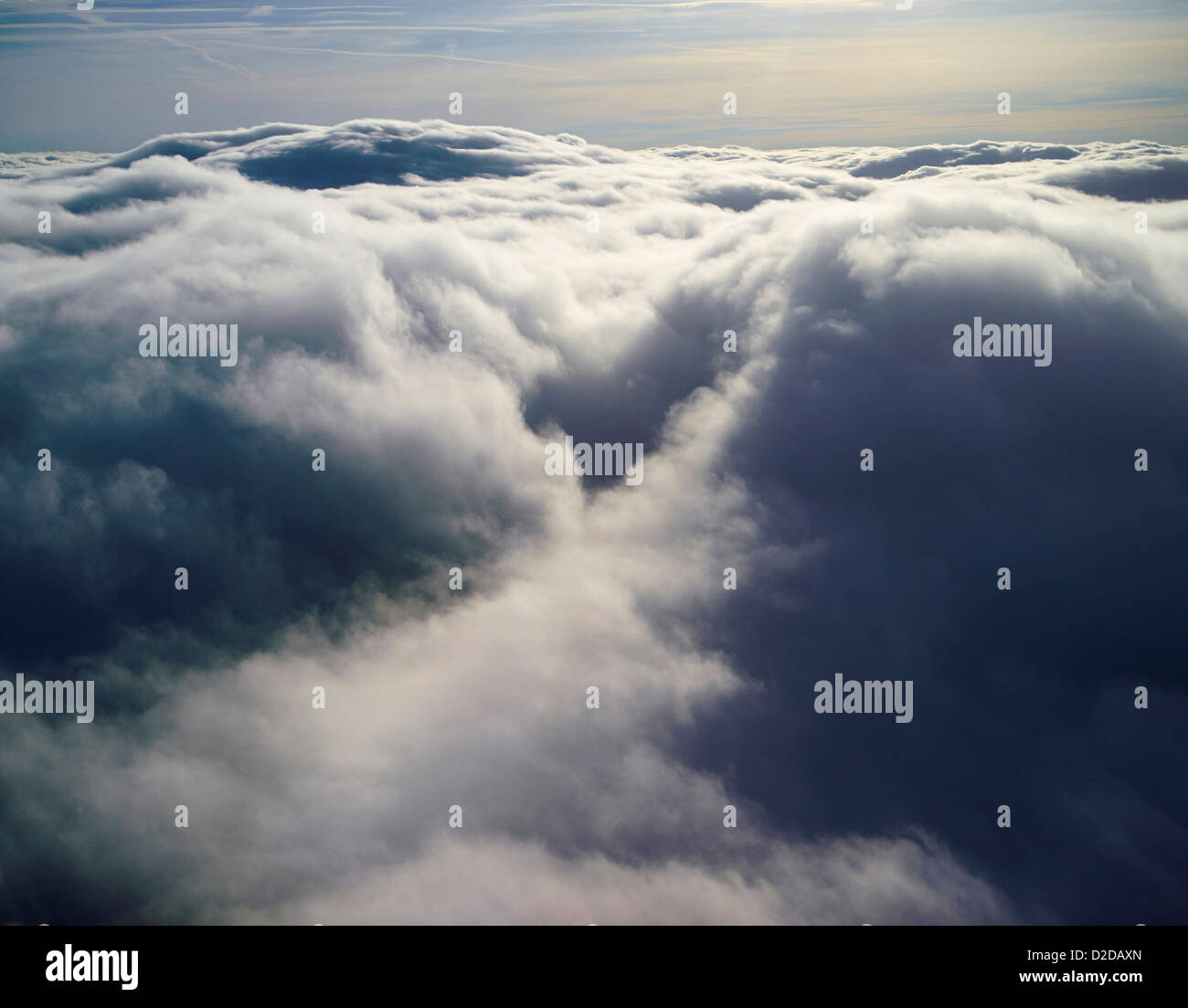 Pilots eye view above the clouds, shot over Shropshire, UK - Stock Image