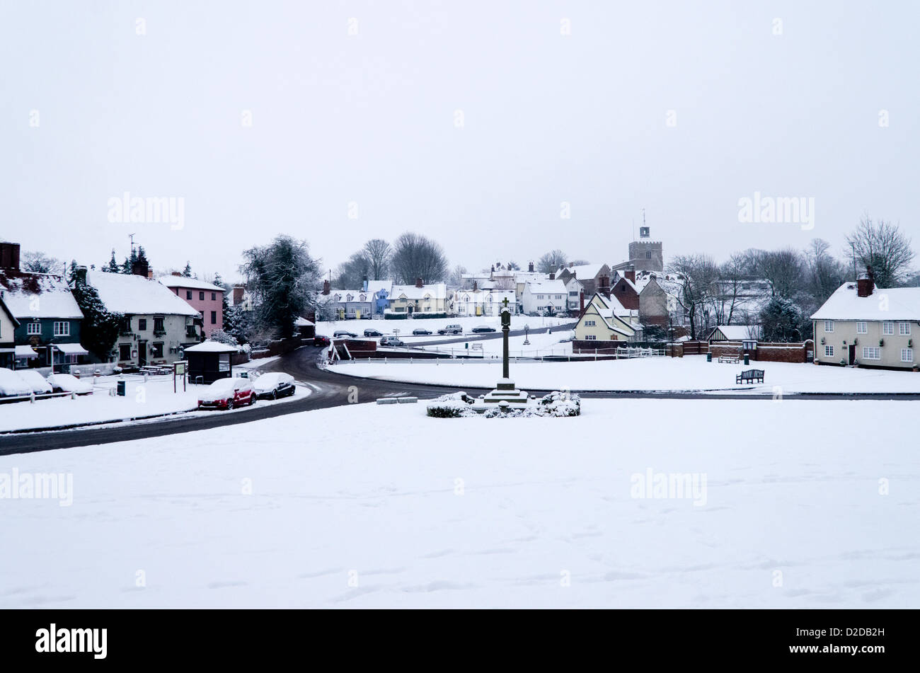 Finchingfield in Essex, UK  is covered in snow.   21st January 2013. - Stock Image