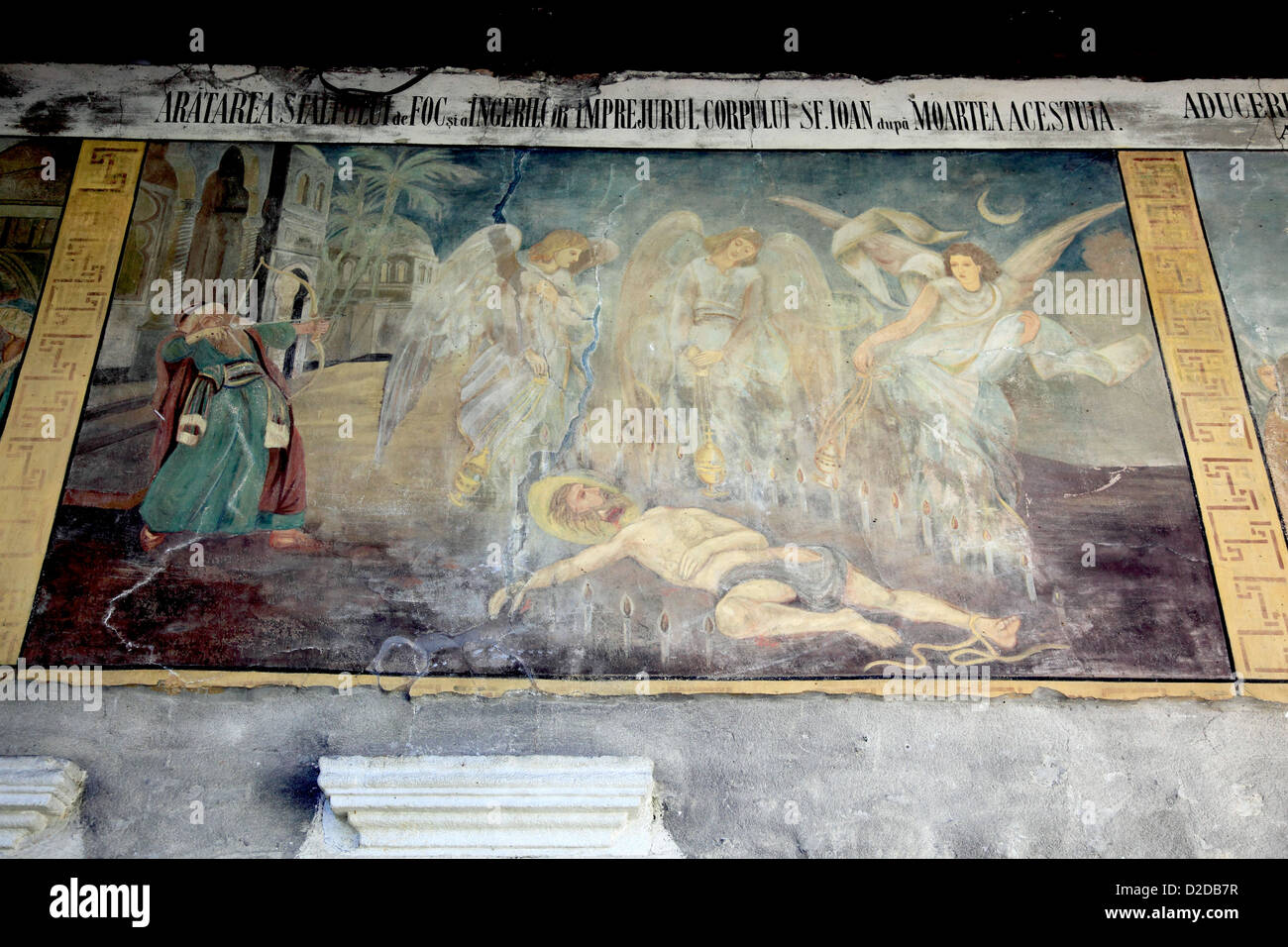 Mural Paintung, Flodor Iancu, Suceava, Romania, Kloster St. Gheorghe, Biserica Sf. Gheorghe Mirauiti, in Suceava, - Stock Image