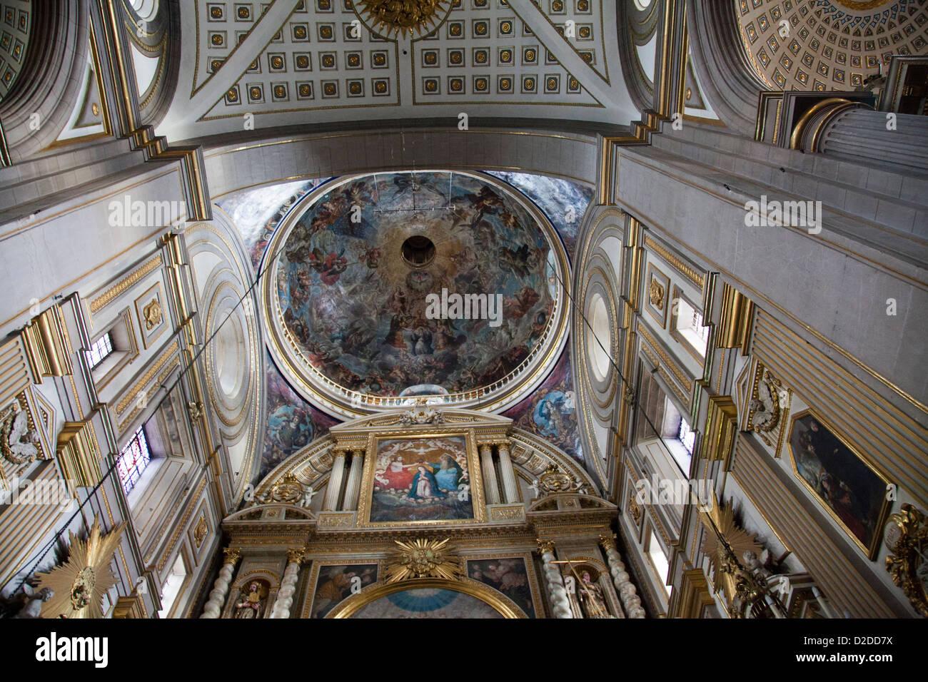 Puebla Catedral Altar of Chapel Royal wall Frescos in Puebla - Mexico - Stock Image
