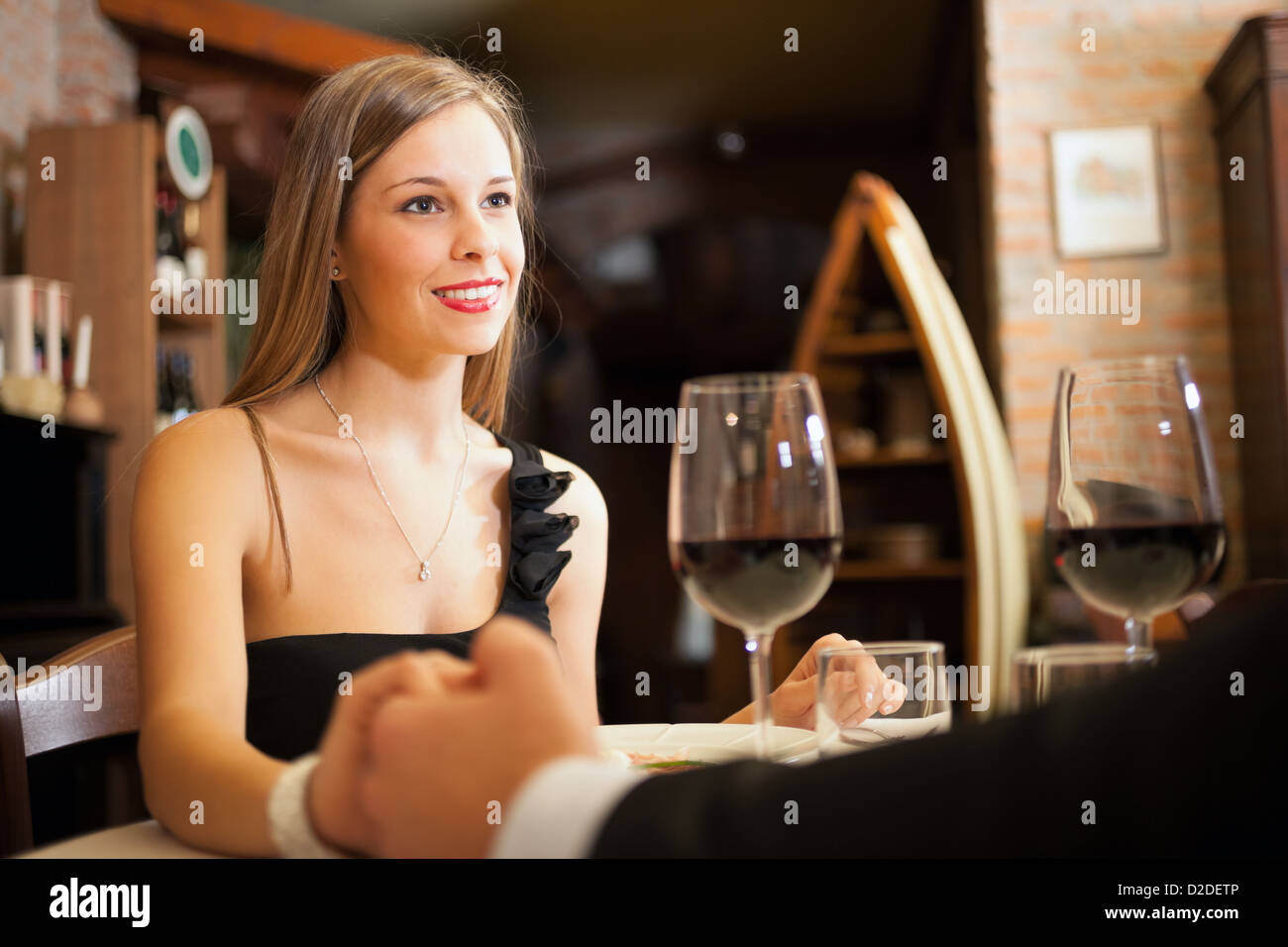 Couple Having A Date In A Luxury Restaurant Stock Photo Alamy