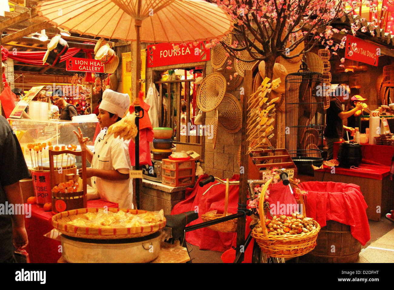 Kiosk selling all Chinese New Year items - Stock Image