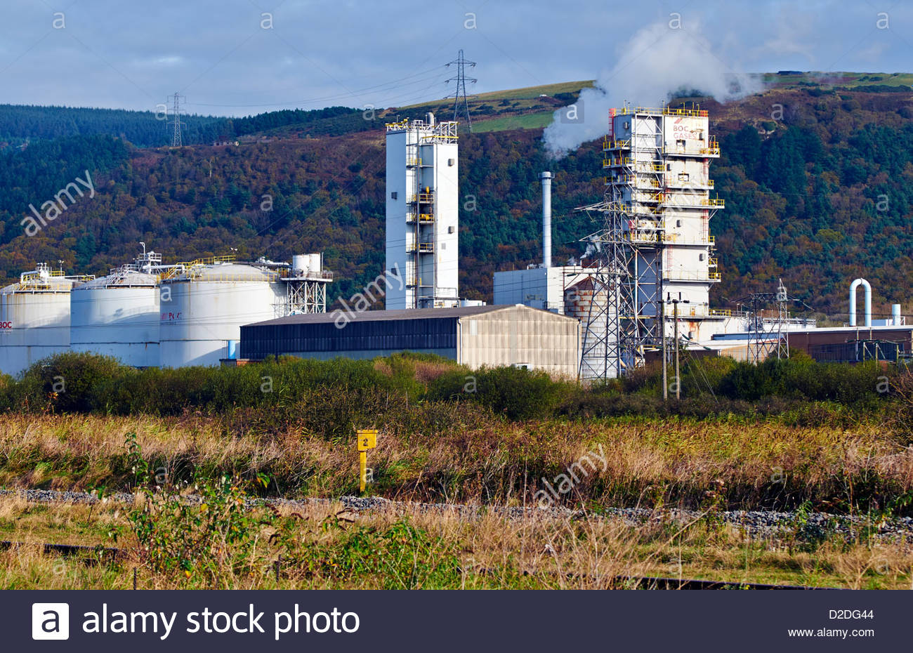 boc british oxygen gases industrial site in margam port talbot south wales - Stock Image