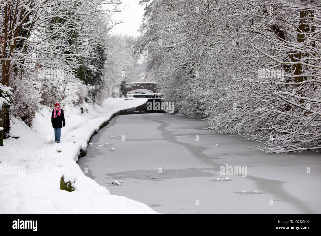 A woman walking along a frozen Coventry canal in Atherstone, North Warwickshire. - Stock Image