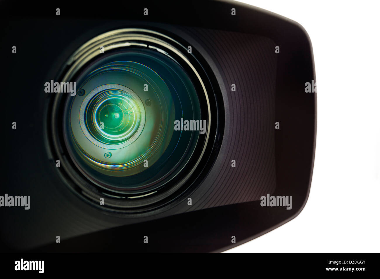 Close-up of a professional television camera lens against a plain white background. - Stock Image