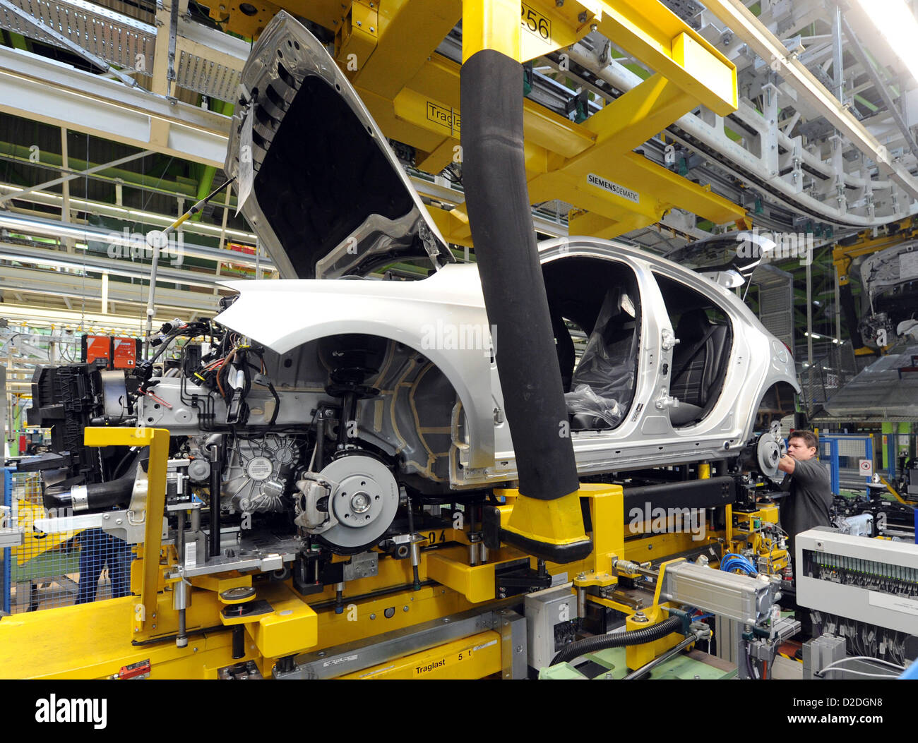 A car is produced at the plant Rastatt of Daimler AG on Monday, 16 July 2012, for the production start of the Mercedes Stock Photo