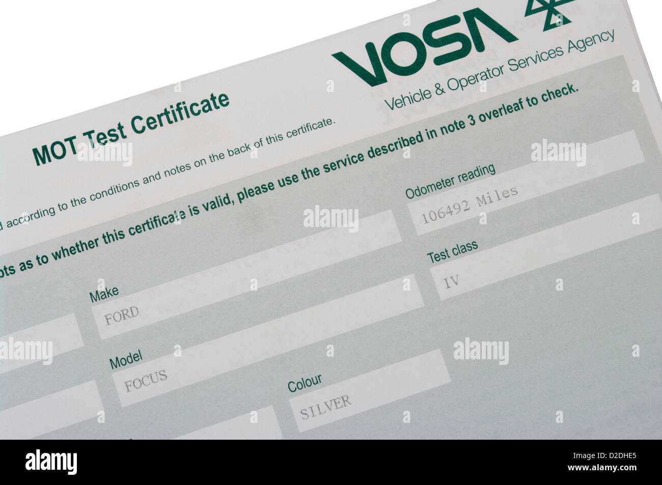 Vehicle And Operator Services Agency MOT Test Certificate - Stock Image