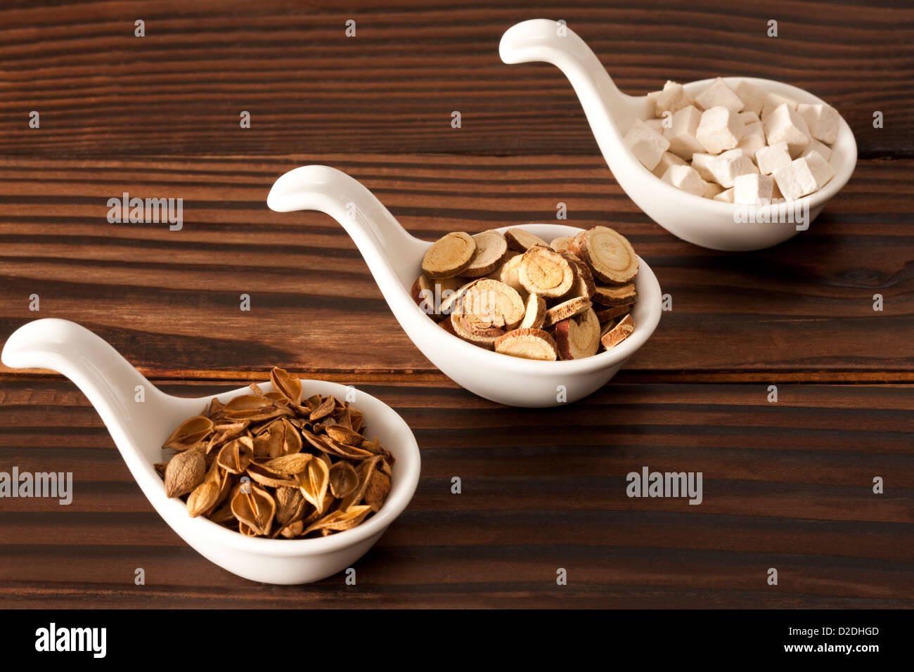 Chinese medial herbs forsythia,liquorice root and poria cocos - Stock Image