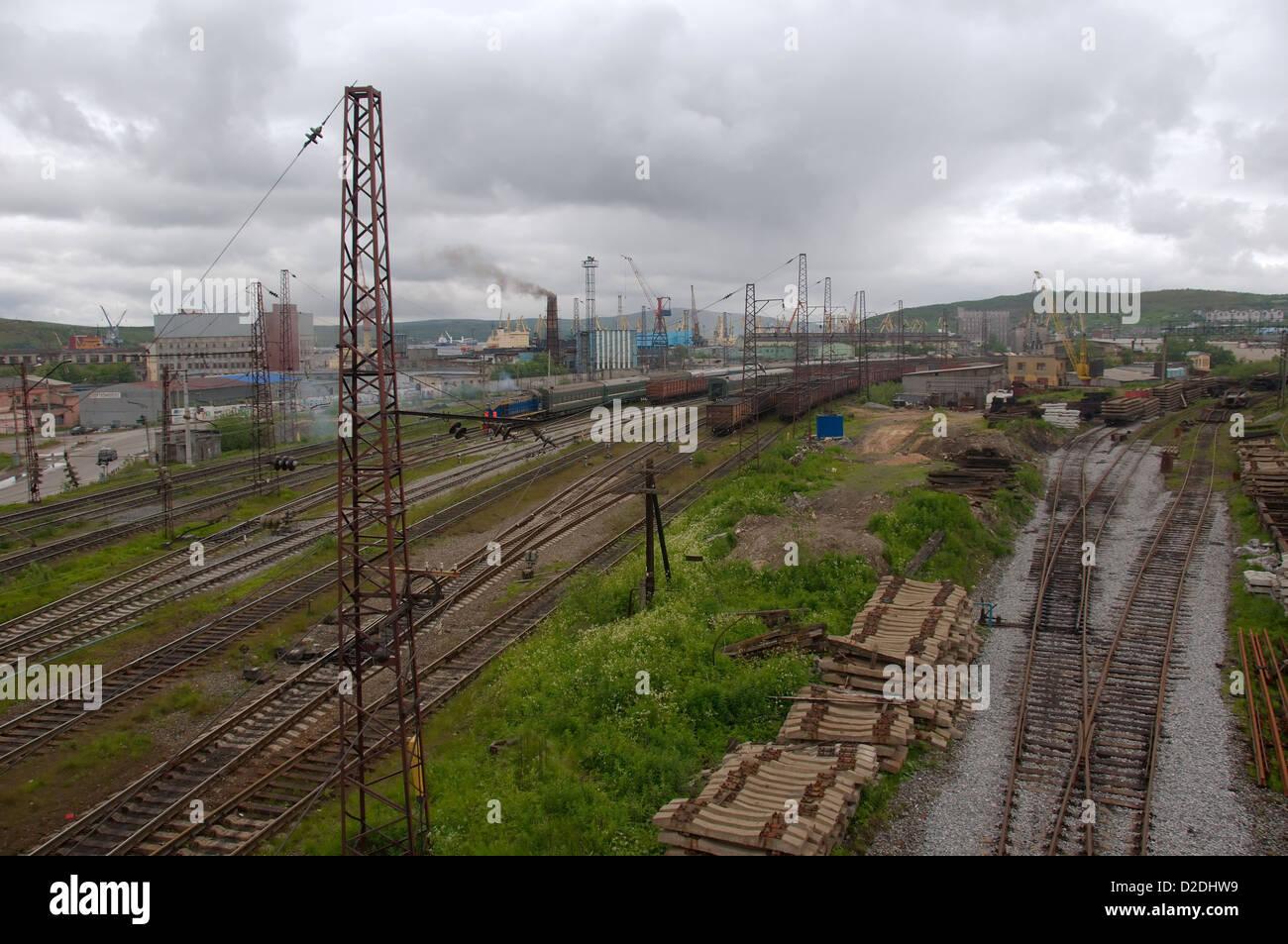 Murmansk railroad, Kola, Arctic, Russia  - Stock Image