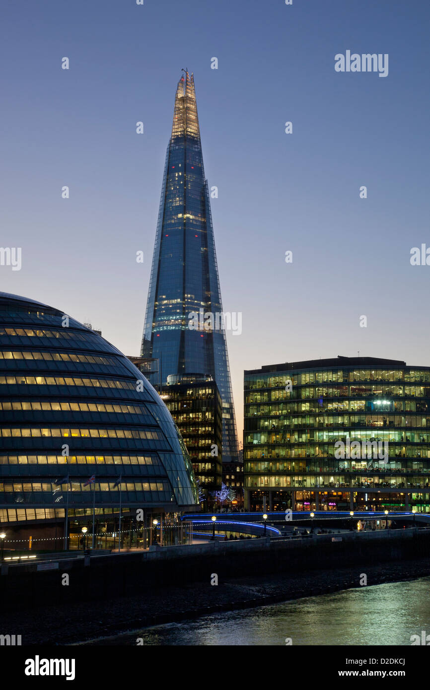 GLC, The Shard and office buildings at dusk on southbank, London bridge district of London, England - Stock Image