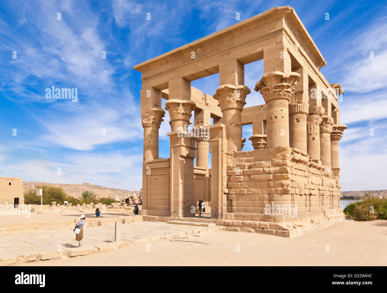 tourists exploring the Kiosk of Trajan at the Temple of Isis Philae Aswan Upper Egypt Middle East - Stock Image