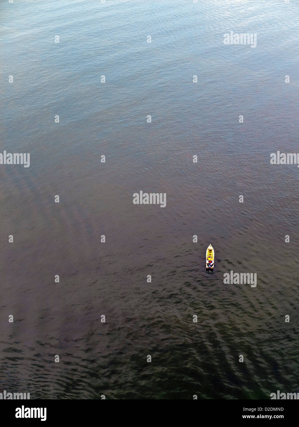 Malaysia, Borneo, Sandakan, South China Sea, Aerial view of a boat - Stock Image