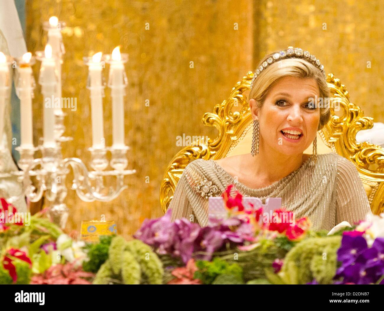 Crown princess Maxima of the Netherlands attends the State Banquet in Bandar Seri Begawan, Brunei Darussalam, 21 Stock Photo