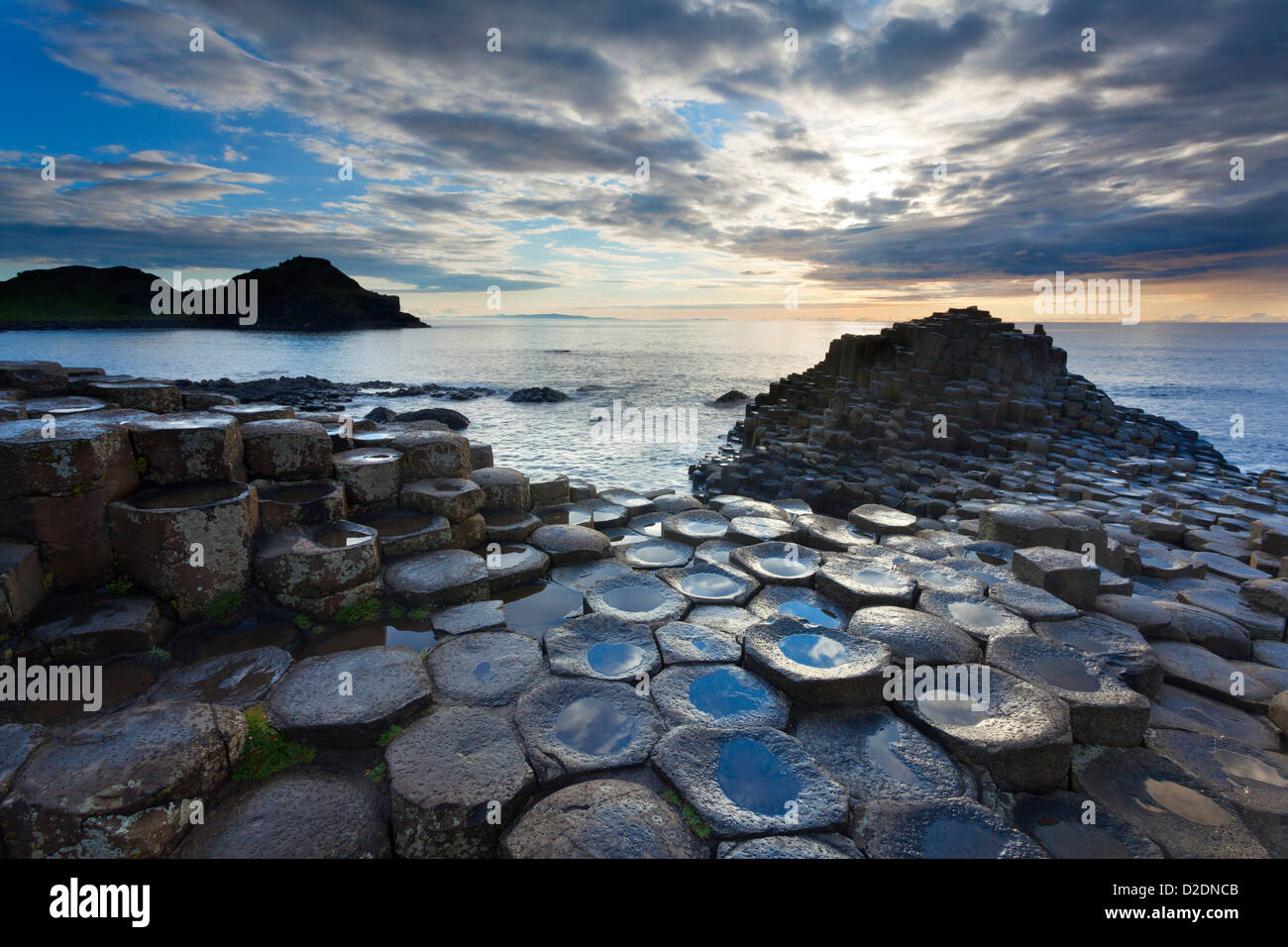 Evening at the Giant's Causeway, County Antrim, Northern Ireland. - Stock Image