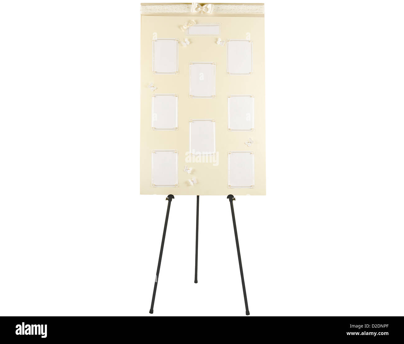 wedding seating plan board on stand with blank spaces for names