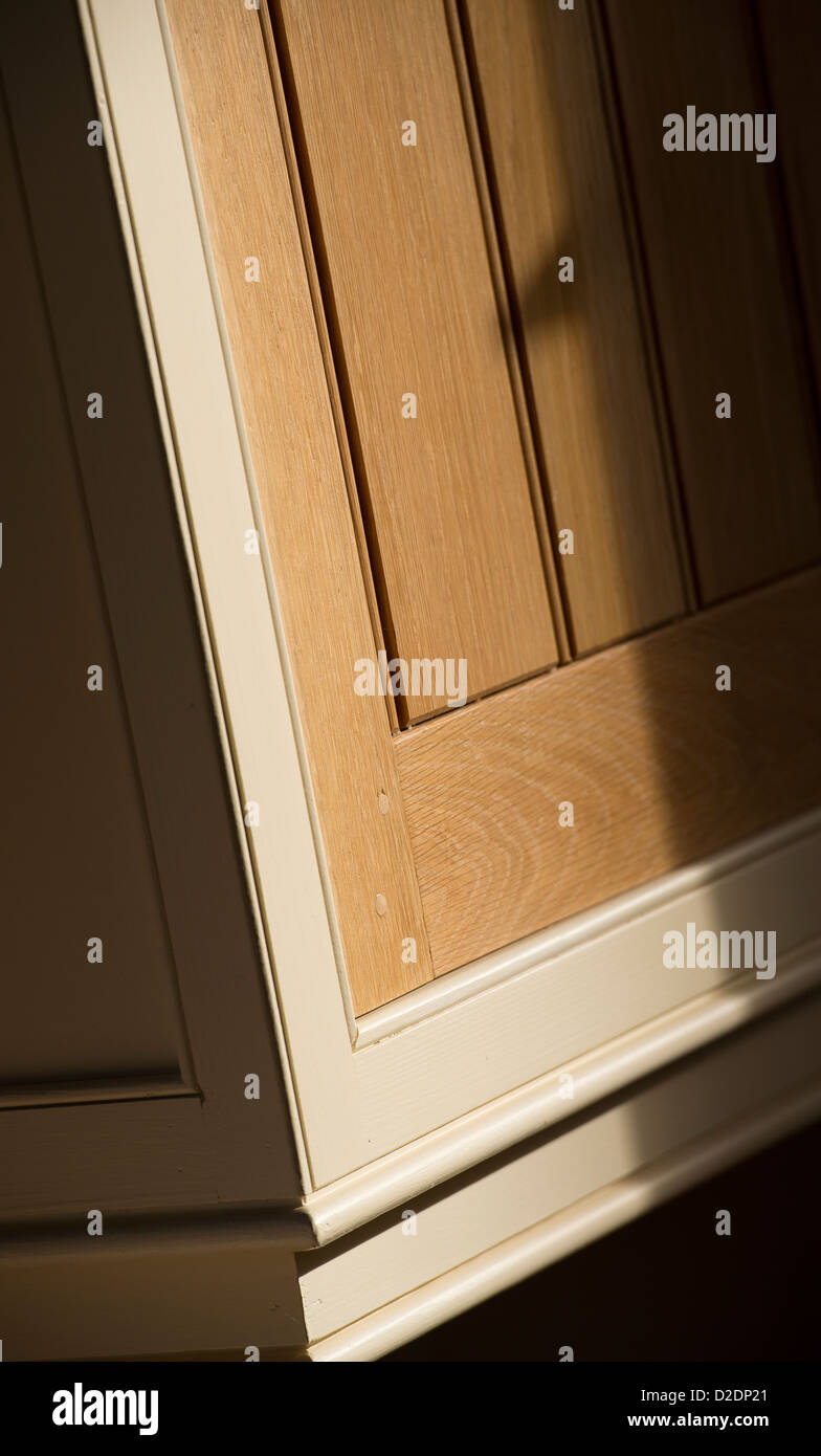 Close Up Of Tongue And Groove Finish On A Cupboard Door In A Newly Built  House