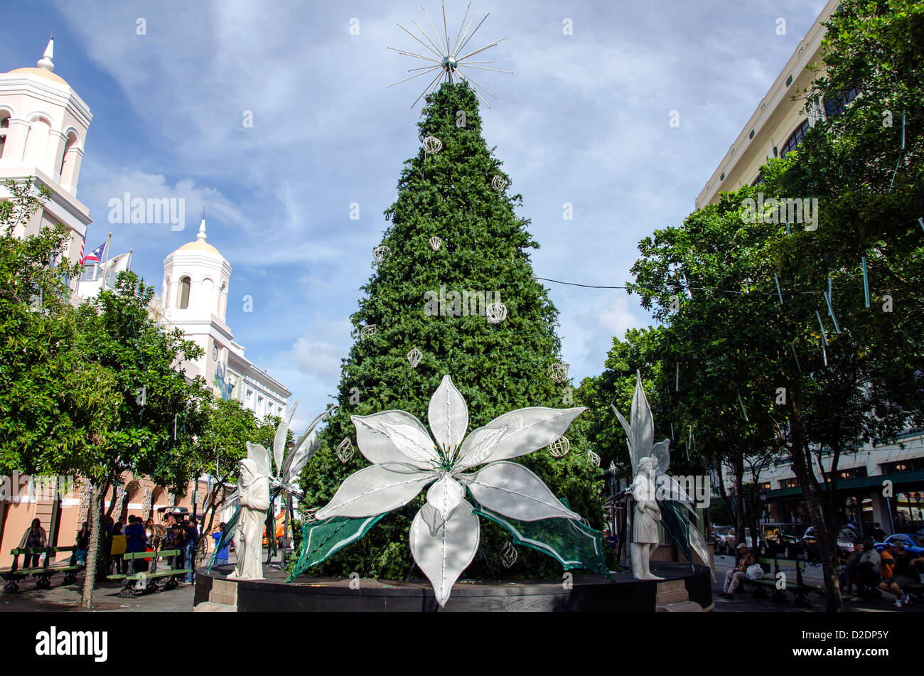 old san juan decorated christmas tree with white poinciana at plaza de armas puerto rico - Puerto Rico Christmas Tree Decorations