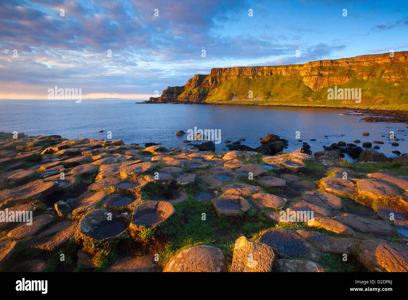 Evening light on the Giant's Causeway, County Antrim, Northern Ireland. Stock Photo