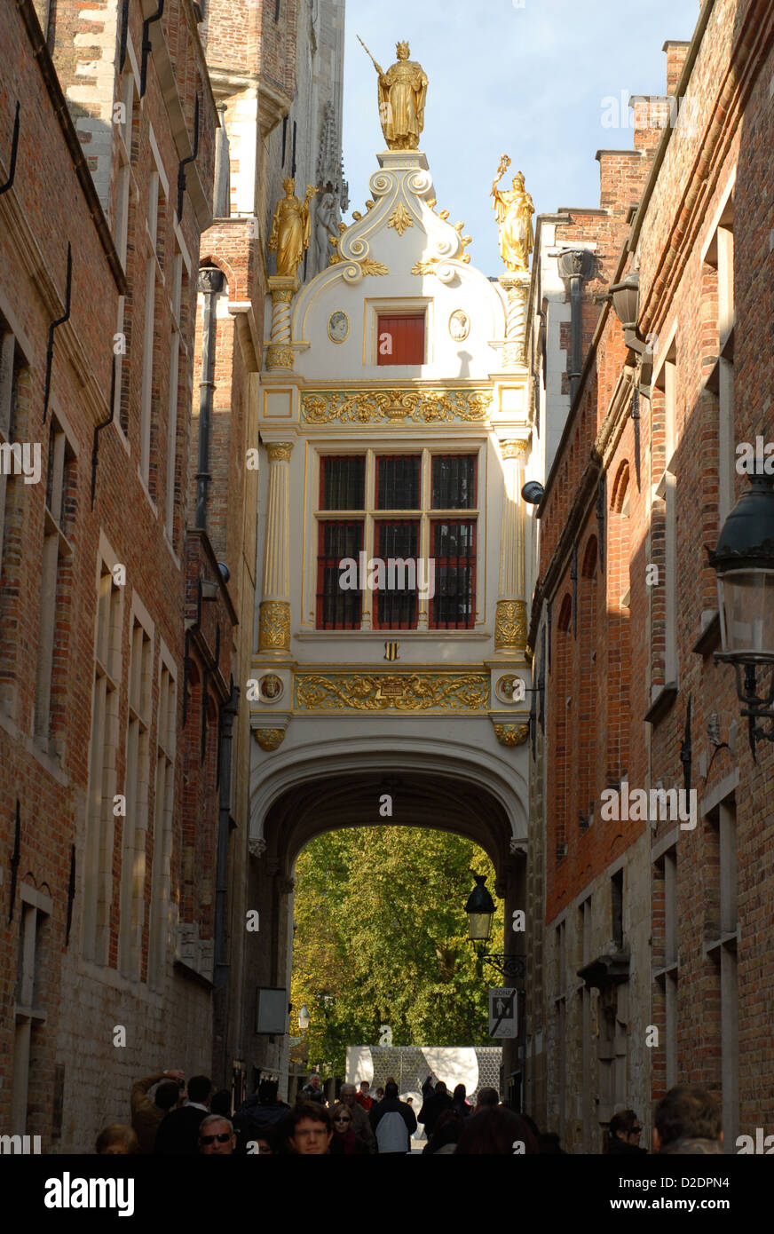Guilded archway in Bruges - Stock Image