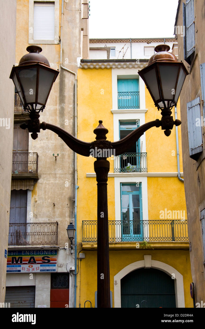Street lamps, Béziers, Languedoc, France - Stock Image