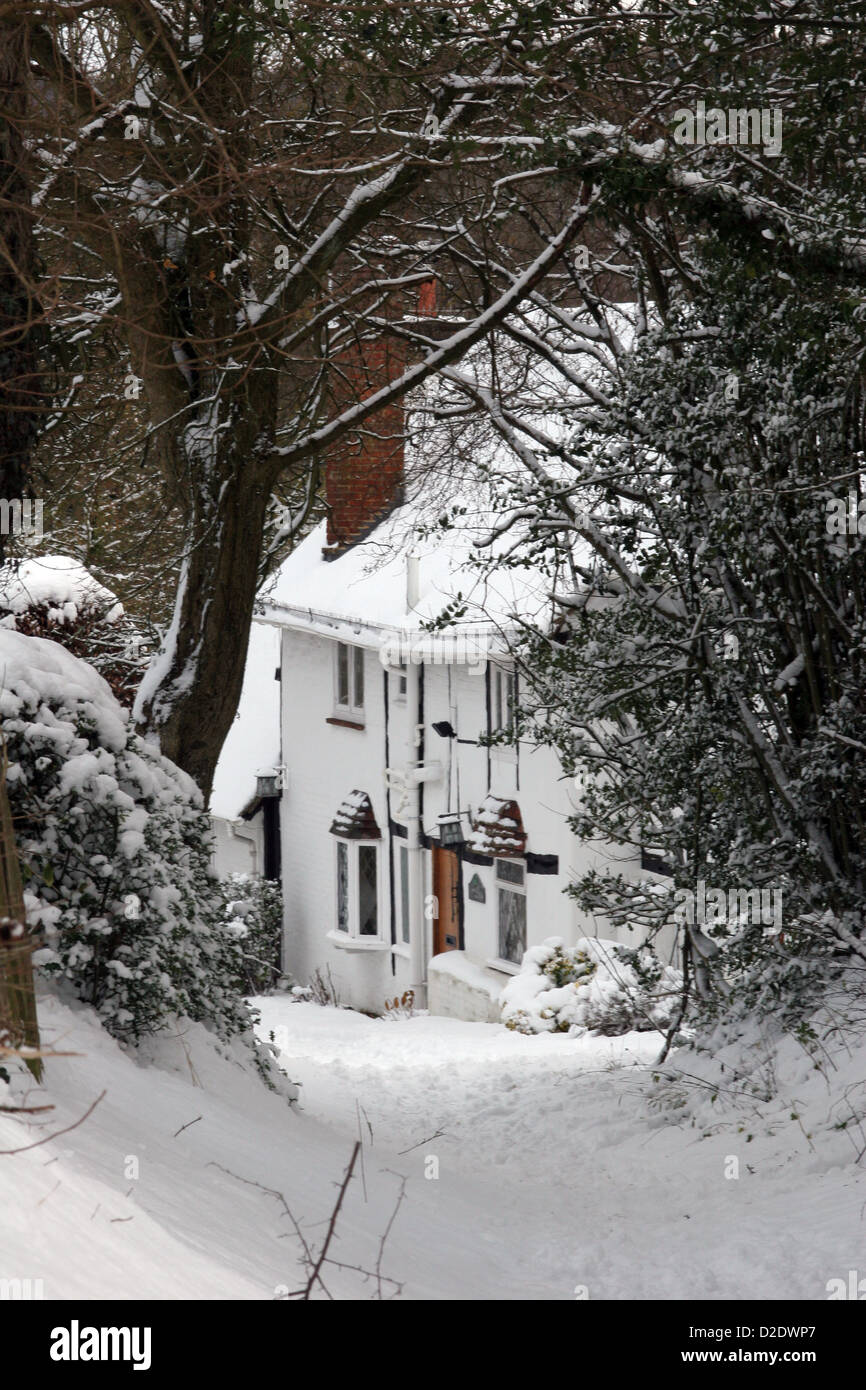 Toby lane farm little missenden in snow - Stock Image