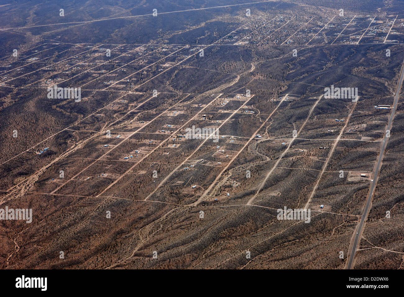 block layouts of streets in sparsely populated area of meadview arizona usa - Stock Image