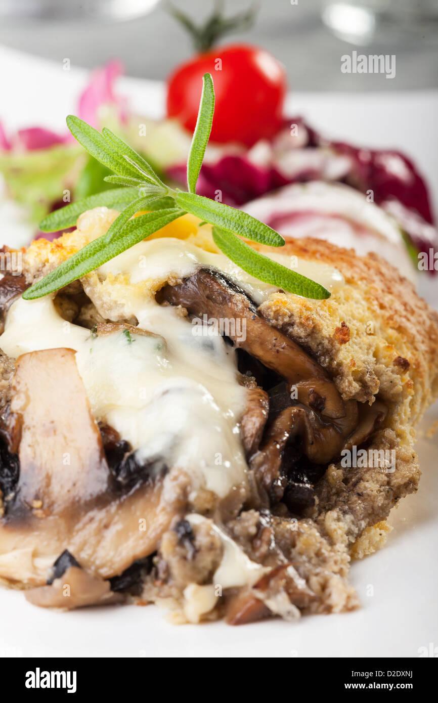 gratinated mushroom omelette - Stock Image
