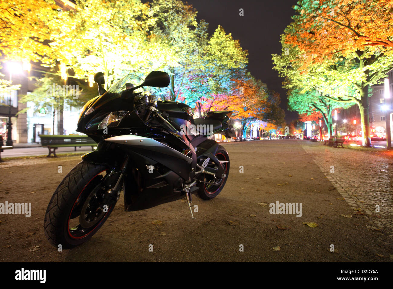 Berlin, Germany, a sport bike Yamaha R6 parked Unter den Linden - Stock Image