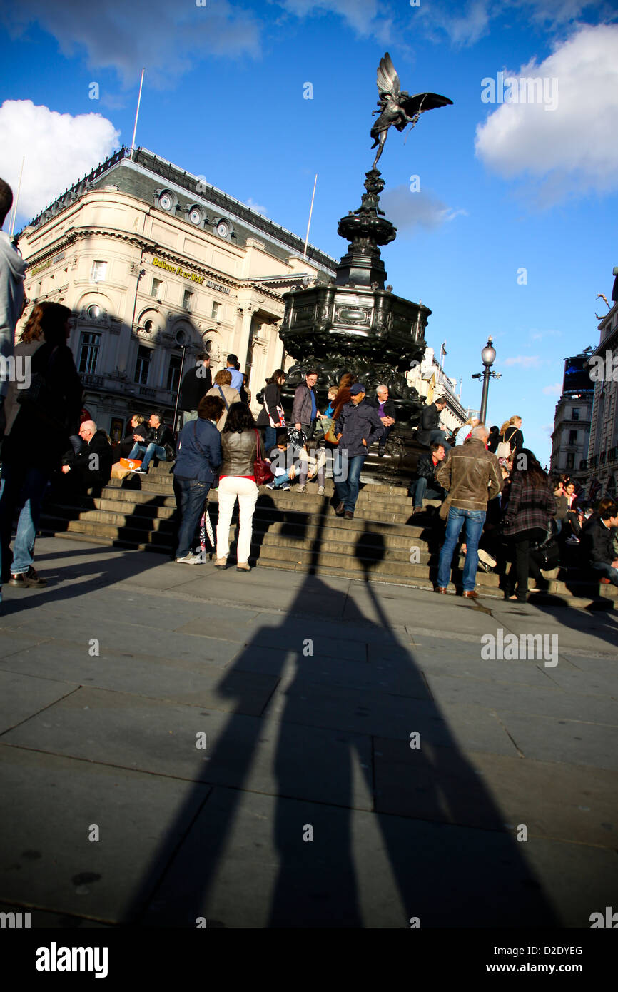 Shaftesbury Memorial and the Statue of Anteros Eros Piccadilly Circus London - Stock Image