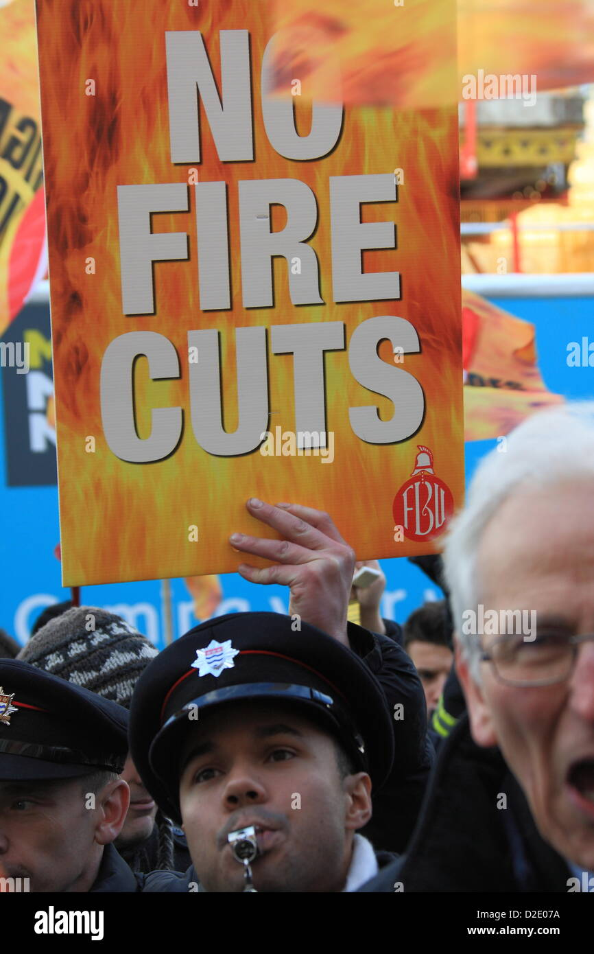 London, UK. 21st Jan, 2013. Firefighters protest outside London Fire Brigade Head Quarters as Fire Authority members Stock Photo