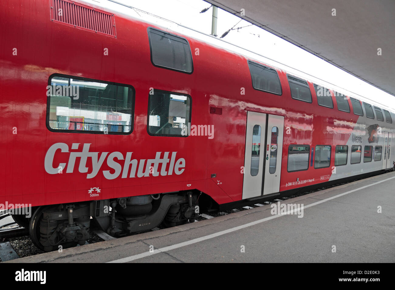 A City Shuttle train on the Austrian Federal Railways, on the side of a train in Vienna, Austria. - Stock Image
