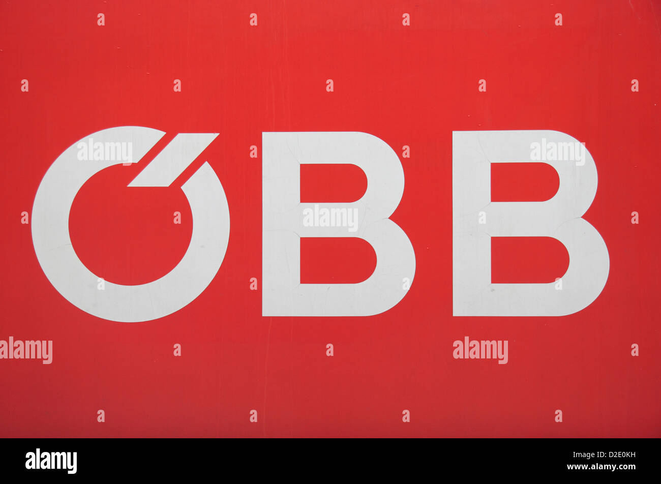 OBB, the logo of the Austrian Federal Railways, on the side of a train in Vienna, Austria. - Stock Image