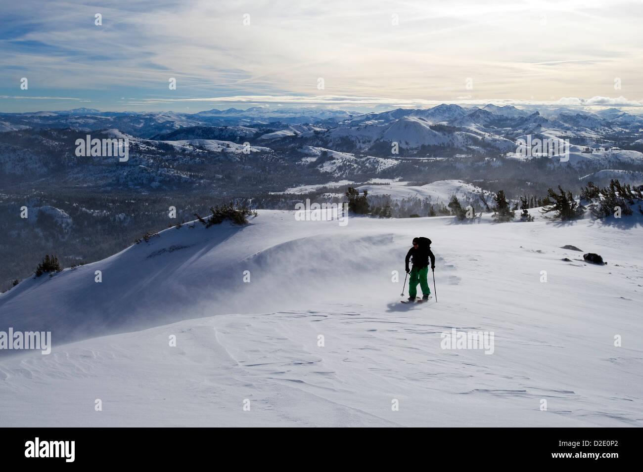 A snowboarder on a splitboard skins up Red Lake Peak in high winds near Lake Tahoe, CA. Stock Photo
