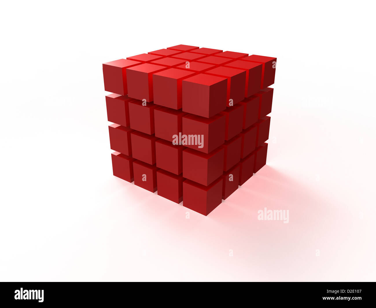 4x4 red ordered cube assembling from blocks isolated on white background - Stock Image