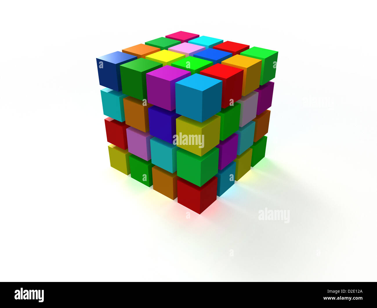 4x4 colorful ordered cube assembling from blocks isolated on white background - Stock Image