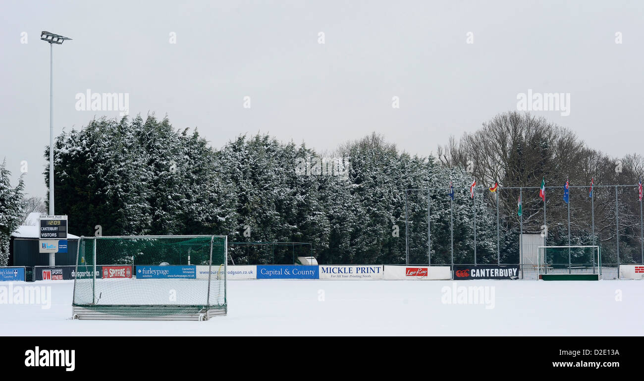 A snow covered pitch at Polo Farm, home to Canterbury Hockey Club, Kent, 21st January 2013. - Stock Image