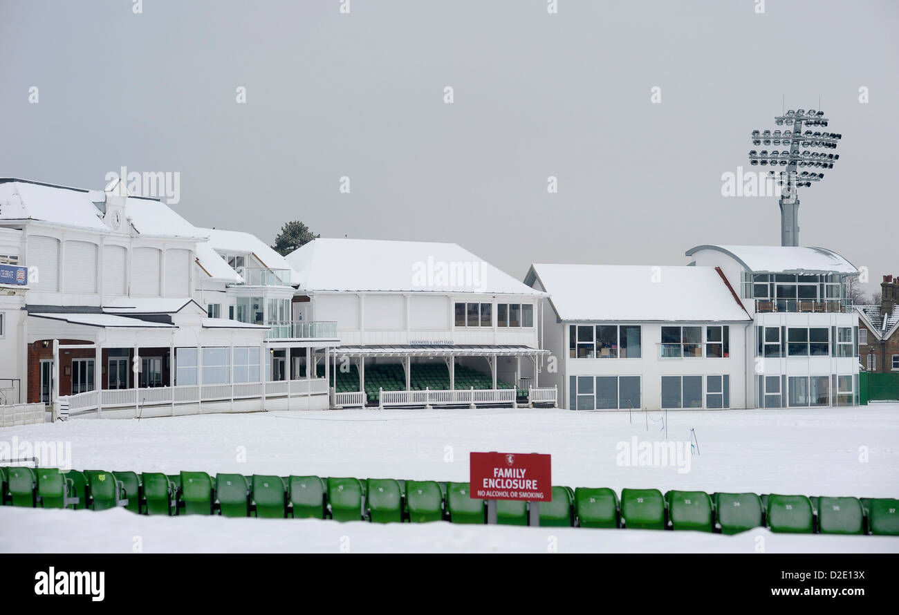 A snow covered St Lawrence Ground, Canterbur, home to Kent County Cricket Club, 21st January 2103. - Stock Image