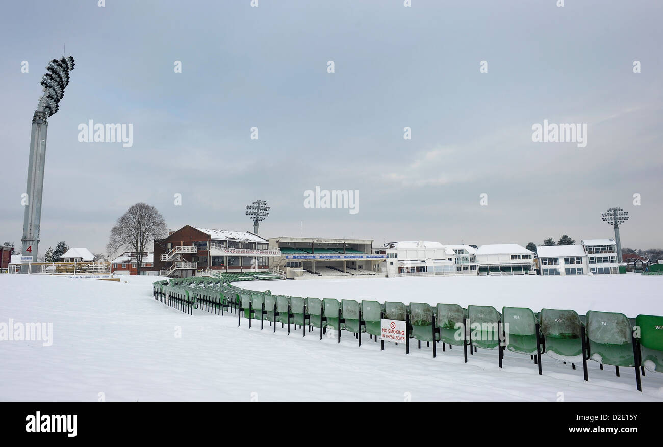 A snow covered St Lawrence Ground, Canterbury, home to Kent County Cricket Club, 21st January 2103. - Stock Image