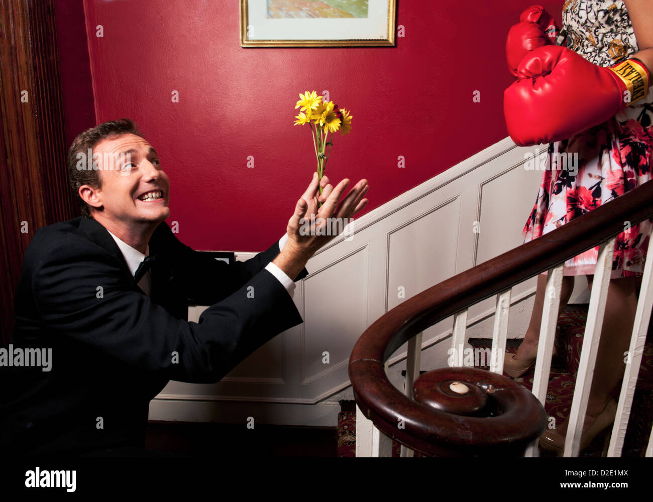 Man bringing home flowers to a woman wearing boxing gloves implying forgiveness - Stock Image