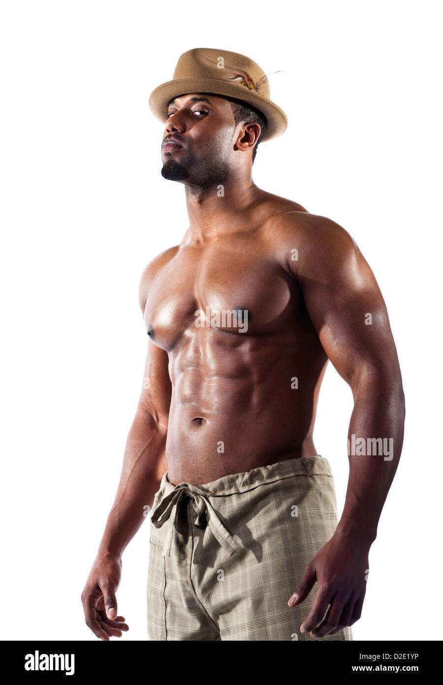 Physically fit black / African American, shirtless wearing fedora hat / model released - Stock Image