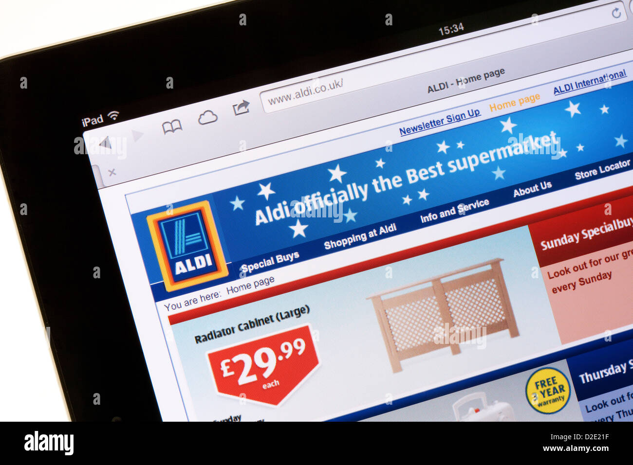 Aldi supermarket website for shopping on the internet; on an iPad, UK - Stock Image