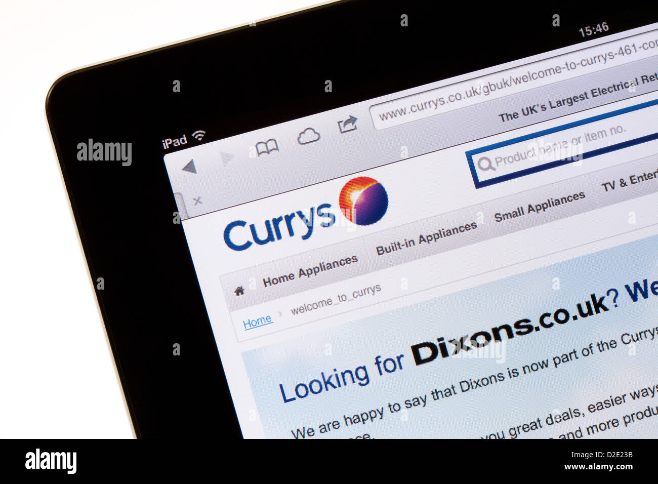 Currys website for shopping on the internet; on an iPad, UK - Stock Image