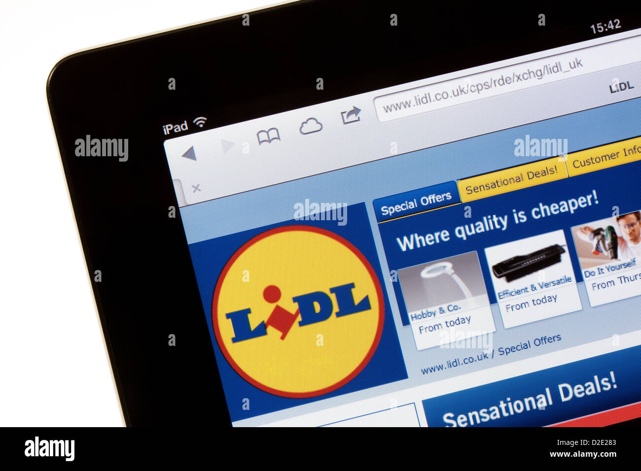 Lidl supermarket website for shopping on the internet; on an iPad, UK - Stock Image