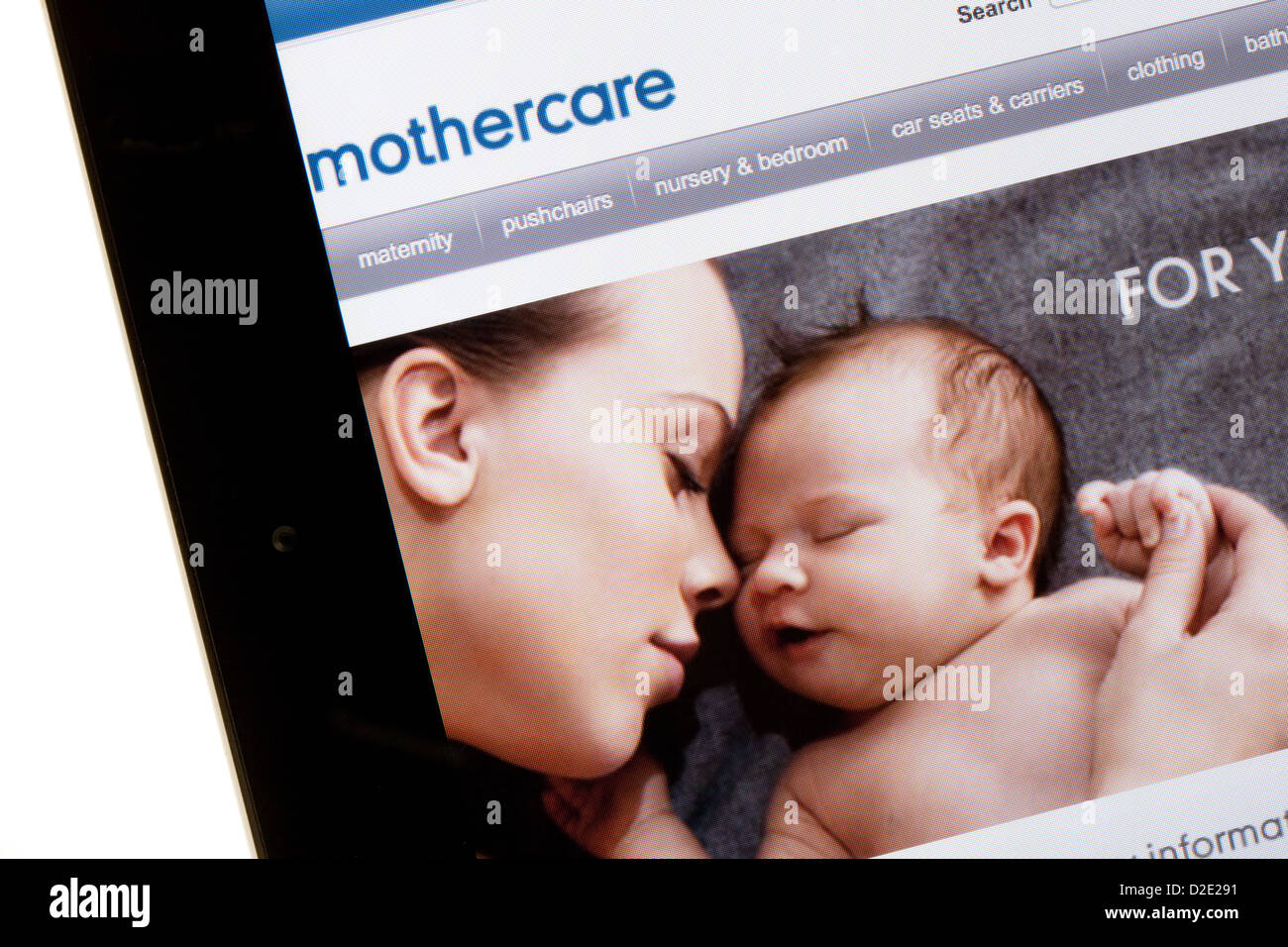 Mothercare website for shopping on the internet; on an iPad, UK - Stock Image