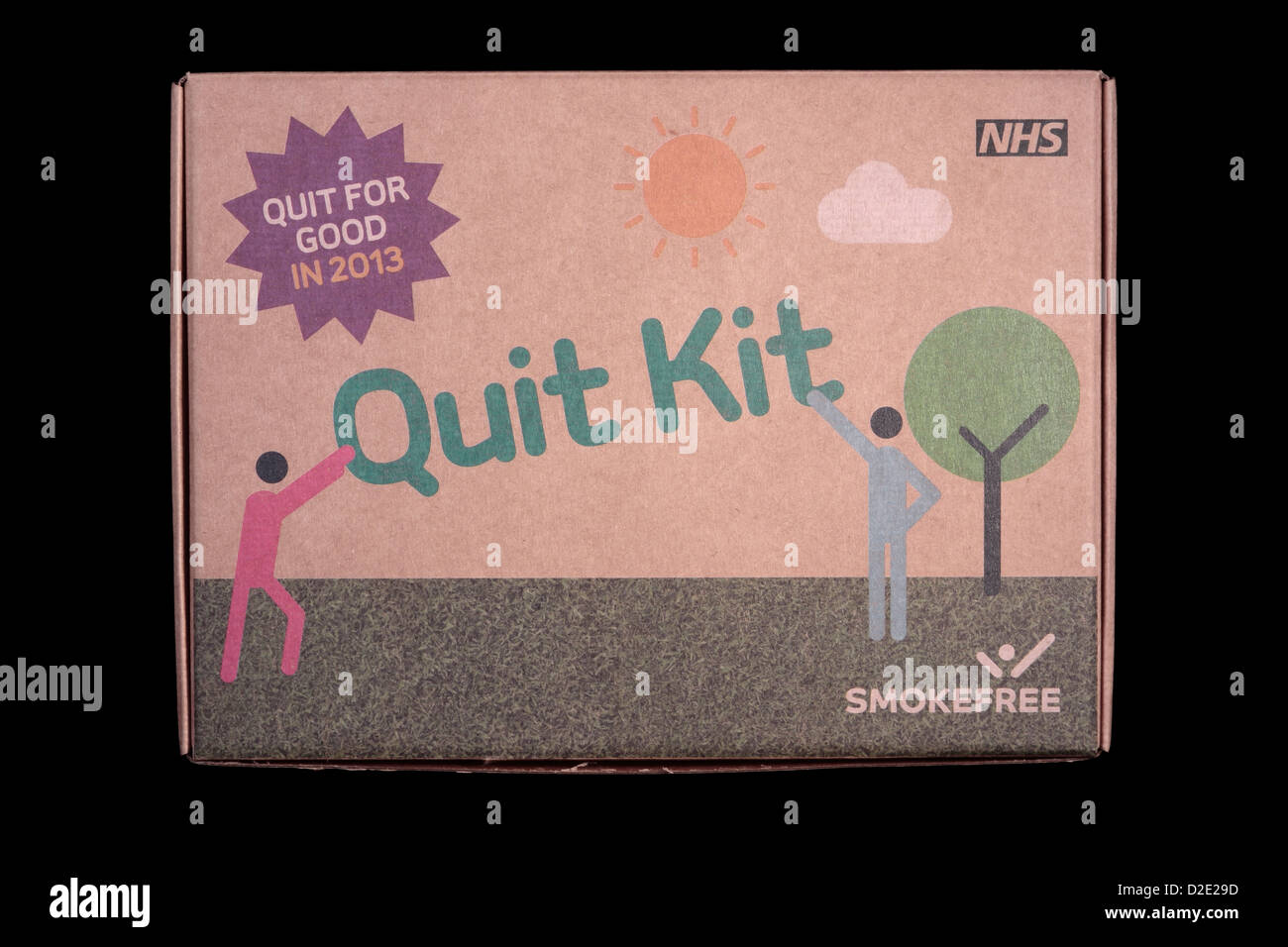 NHS Quit Kit isolated on black background - Stock Image