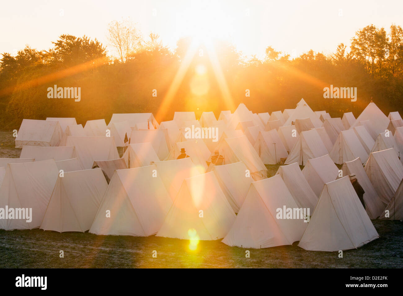 Canada,Ontario,Niagara-on-the-Lake, Fort George National Historical Monuments, rows of tents at War of 1812 re-enactment - Stock Image